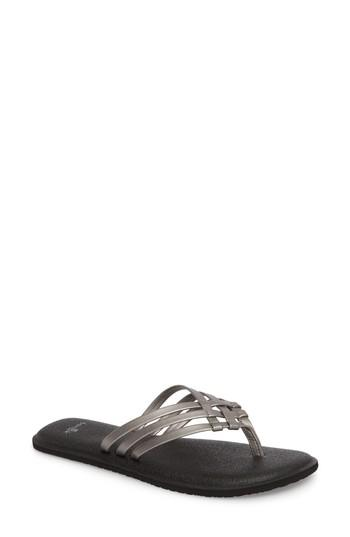 Women's Sanuk Yoga Salty Flip Flop M - Metallic