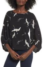 Women's Leith Bird Print Blouse - Black