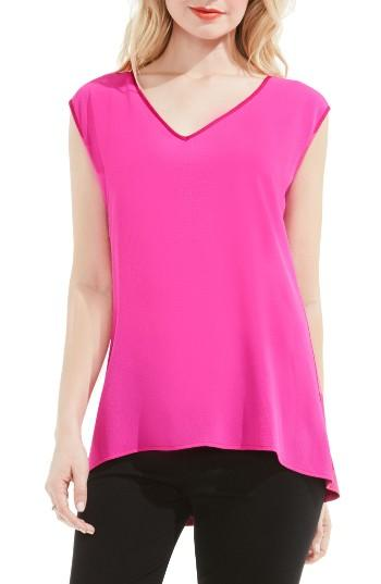 Petite Women's Vince Camuto Mixed Media Top, Size P - Pink