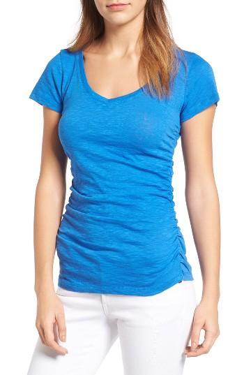 Petite Women's Caslon Shirred V-neck Tee P - Blue/green