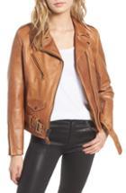 Women's Vince Leather Moto Jacket - Grey