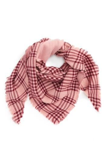 Women's David & Young Metallic Plaid Triangle Scarf, Size - Pink