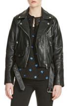 Women's Maje Bassung Leather Moto Jacket - Black