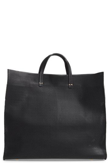 Clare V. Simple Perforated Leather Tote - Black