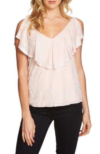 Women's 1.state Velvet Burnout Top, Size - Pink