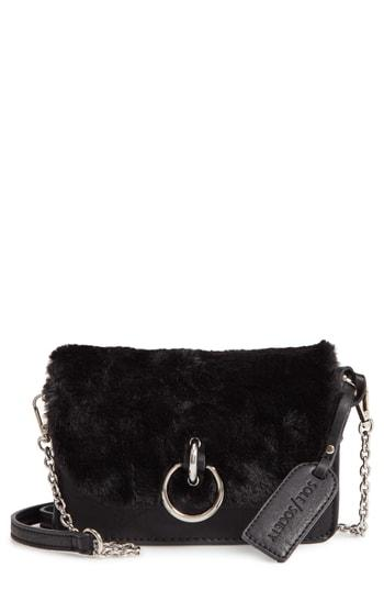 Sole Society Lebra Faux Fur Crossbody Bag - Black