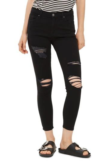 Petite Women's Topshop Leigh Super Ripped High Waist Skinny Jeans X 28 - Black
