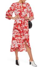 Women's Topshop Knotted Midi Dress Us (fits Like 0) - Red