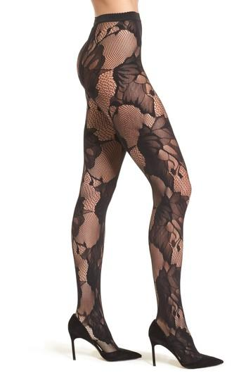Women's Wolford Pat Floral Lace Tights - Black
