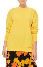 Women's Topshop Longline Sweatshirt Us (fits Like 0) - Yellow