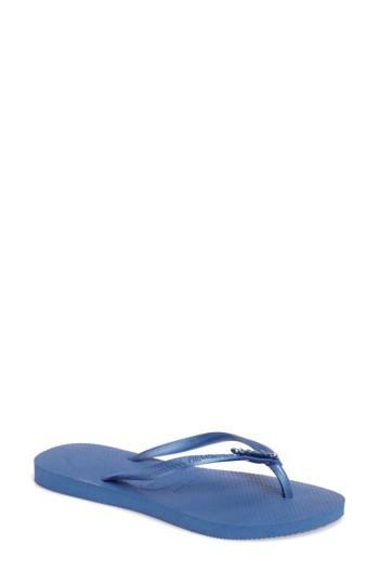 Women's Havaianas Slim Lux Flip Flop /38 Br - Blue