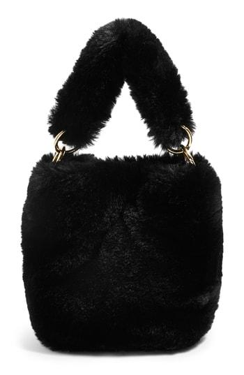 Topshop Teddy Faux Fur Bucket Bag - Black