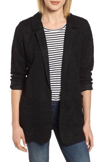 Petite Women's Caslon Knit Boyfriend Blazer P - Black