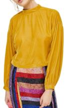 Women's Topshop Velvet Peasant Top Us (fits Like 0) - Yellow