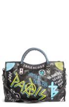 Balenciaga City Graffiti Leather Tote - Black