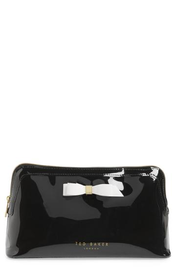 Ted Baker London Caffara Bow Cosmetics Case, Size - Black