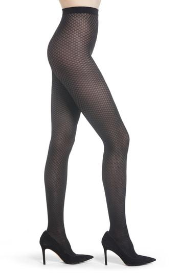 Women's Wolford Tess Check Tights - Black