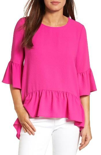 Petite Women's Gibson Ruffled Handkerchief Hem Top P - Pink
