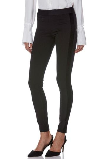 Women's Paige Tereza Velvet Side Stripe Slim Pants - Black