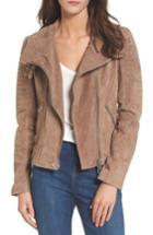Women's Blanknyc Crop Suede Moto Jacket - Beige
