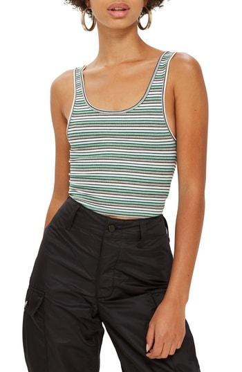 Women's Topshop Leni Striped Rib Tank Top Us (fits Like 0) - Green