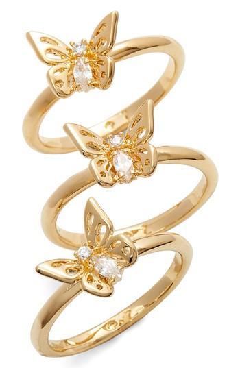 Women's Kate Spade Social Butterfly Set Of 3 Stackable Rings