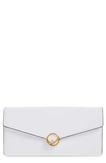 Women's Fendi Logo Flap Leather Continental Wallet - White
