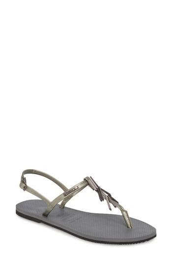 Women's Havaianas You Riviera Embellished Sandal /36 Br - Grey