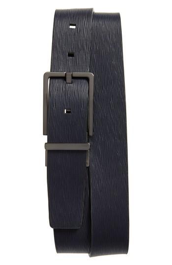 Men's Ck Calvin Klein Saffiano Leather Belt - Navy