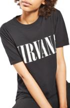 Women's Topshop By And Finally Nirvana Nibbled Tee - Black