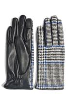Women's Topshop Houndstooth Faux Leather Touchscreen Gloves - Black