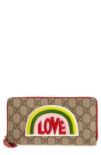 Women's Gucci Embroidered Love Patch Gg Supreme Zip Around Wallet -