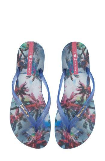 Women's Ipanema Wave Vista Print Flip-flop M - Blue