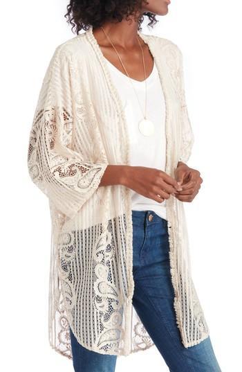 Women's Sole Society Crochet Lace Kimono, Size - Beige