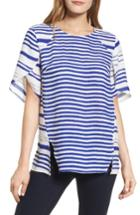 Women's Chaus Tulip Sleeve Stripe Blouse - Blue