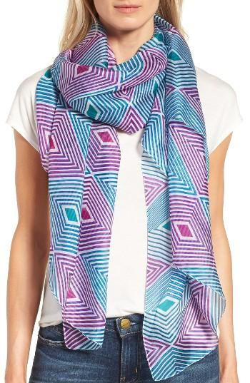 Women's La Fiorentina Geometric Silk Scarf, Size - Blue