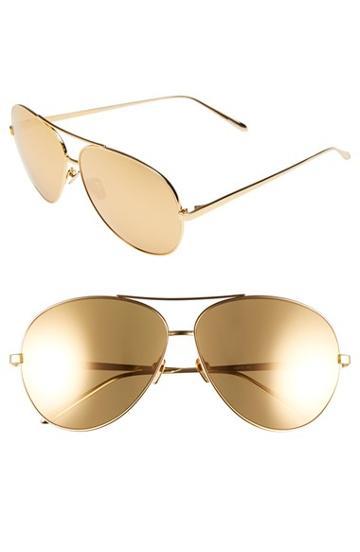 Women's Linda Farrow 64mm Gold Plated Aviator Sunglasses