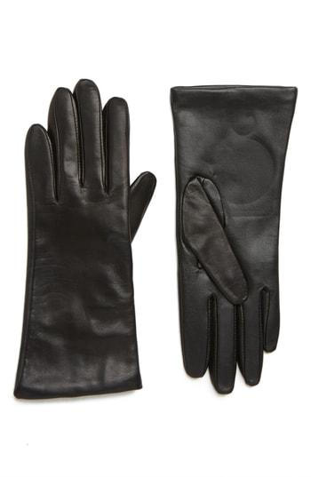 Women's Nordstrom Cashmere Lined Leather Touchscreen Gloves - Black