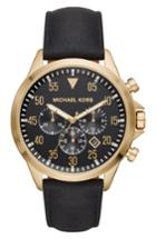 Men's Michael Kors Gage Chronograph Leather Strap Watch, 45mm