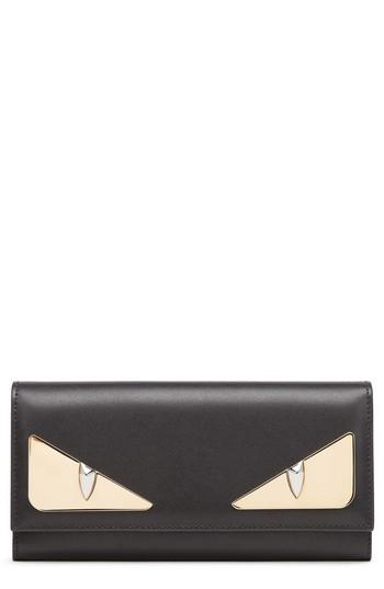 Women's Fendi Monter Leather Continental Wallet - Black