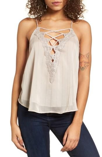 Women's Astr The Label Lace-up Camisole - Grey