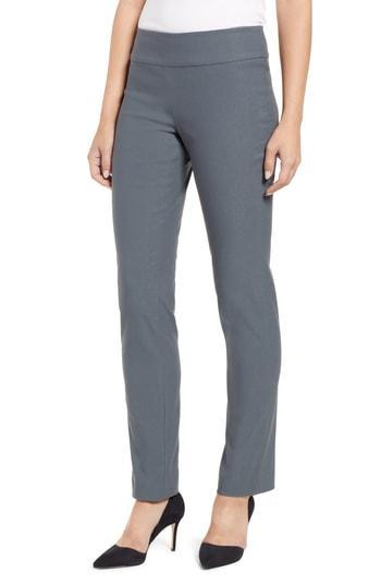 Petite Women's Nic+zoe Wonder Stretch Slim Leg Pants P - Grey