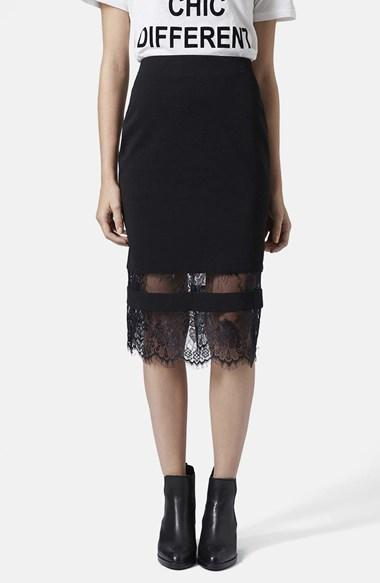 Topshop Lace Insert Body-con Tube Skirt