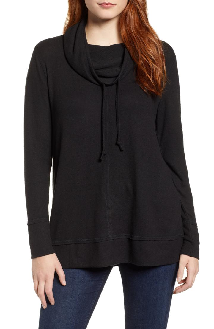Petite Women's Caslon Cowl Hood Pullover P - Black