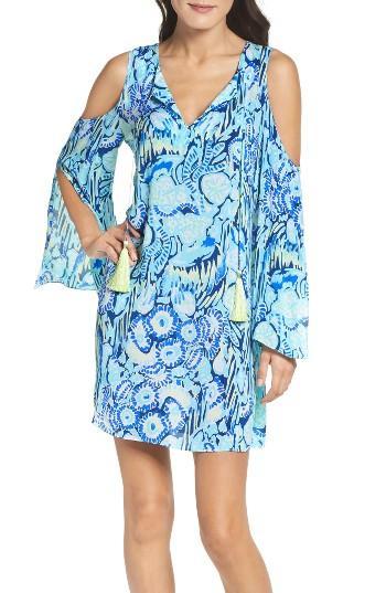Women's Lilly Pulitzer Benicia Cold Shoulder Dress - Blue