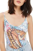 Women's Topshop Tiger Print Bodysuit Us (fits Like 0) - Blue