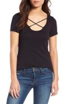 Women's Splendid 1x1 Cross Front Tee - White