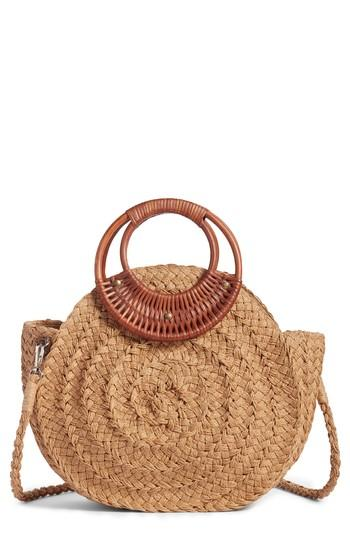 Violet Ray New York Wood Handle Straw Bag - Beige
