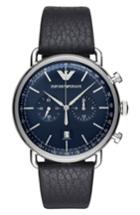 Men's Emporio Armani Aviator Leather Strap Chronograph Watch, 43mm