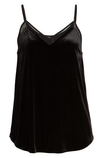 Women's 1.state Chiffon Detail Velvet Camisole - Black